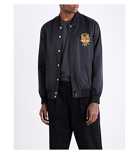 OBEY Savage tiger-embroidered satin bomber jacket (Black