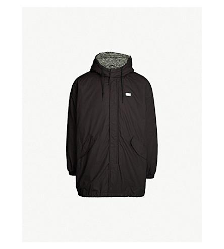 OBEY Longline shell hooded jacket (Black