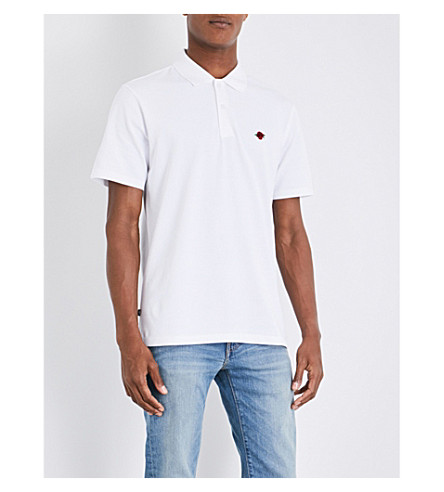OBEY Rose-embroidered cotton polo shirt (White