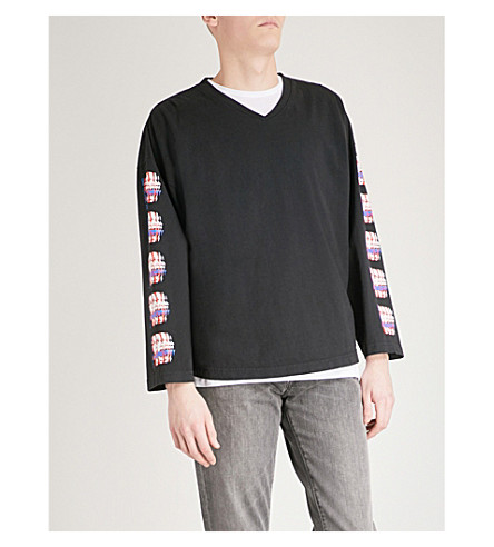 OBEY Printed cotton-jersey top (Off+black