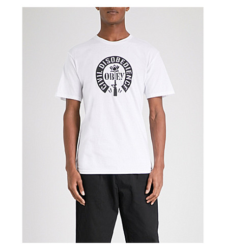 OBEY Civil Disobedience cotton-jersey T-shirt (White