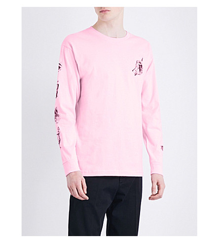 OBEY Tropical casualty graphic-print cotton-jersey top (Pink