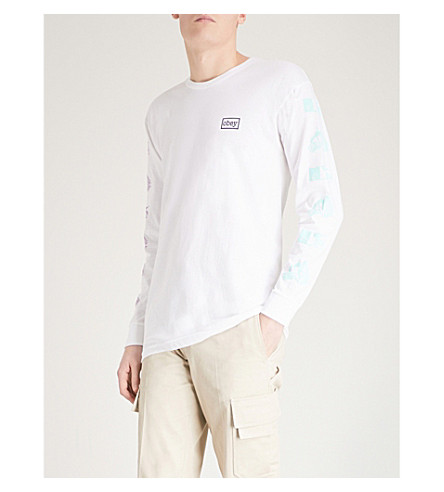 OBEY Logo-print cotton-jersey top (White