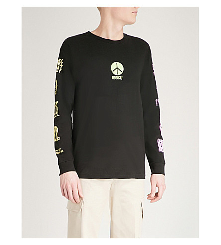 OBEY Long-sleeved cotton-jersey top (Black
