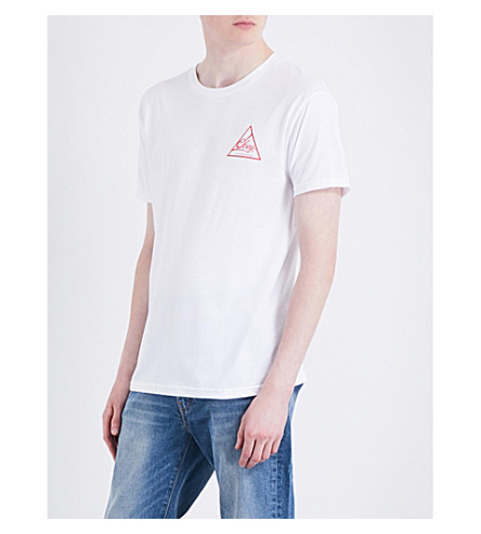 OBEY Next round logo-print cotton-jersey T-shirt (White+red