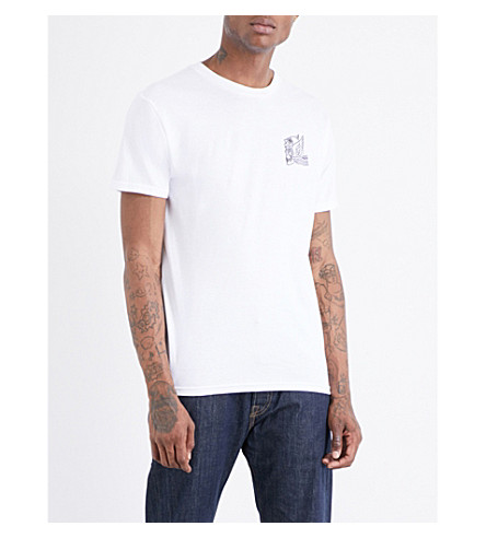OBEY Midnight angels printed cotton-jersey T-shirt (White