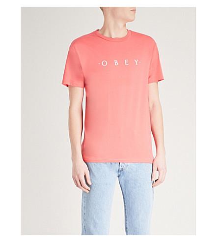 OBEY Logo-print cotton-jersey T-shirt (Coral