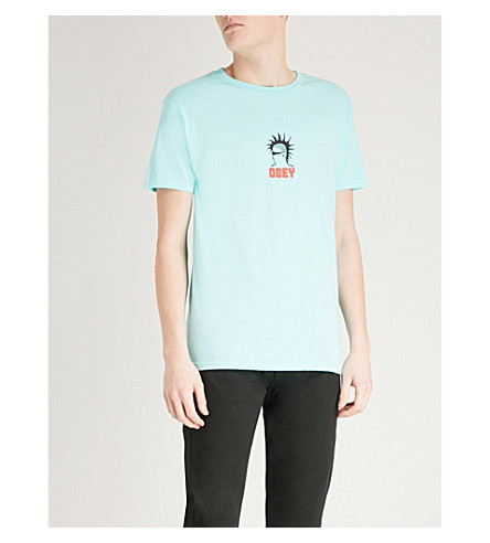 OBEY Heavy Duty Creeps cotton-jersey T-shirt (Celadon