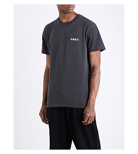 OBEY logo-print cotton-jersey T-shirt (Dusty+black
