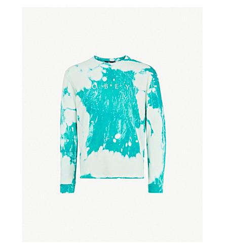 OBEY Novel tie-dye cotton-jersey top (Teal