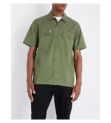 OBEY Mission Military cotton shirt (Light+army
