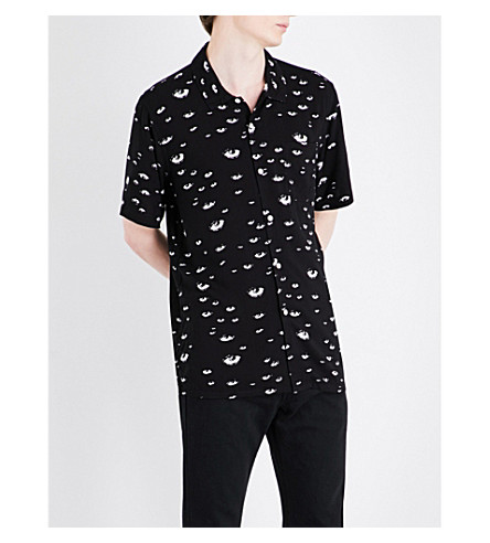 OBEY Bloodshot eye-print woven shirt (Black+multi