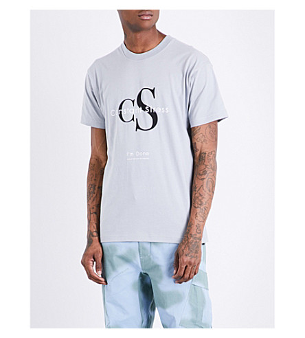 CHRISTOPHER SHANNON Constant Stress cotton-jersey T-shirt (Grey
