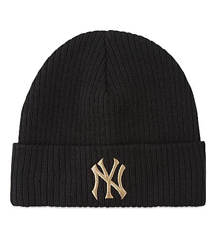 NEW ERA 库佰斯顿收集纽约洋基毛线帽 (黑 + 卡其色