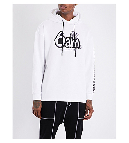 BLOOD BROTHER 6am music cotton-jersey hoody (White