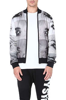 BLOOD BROTHER Reversible eye-print bomber jacket