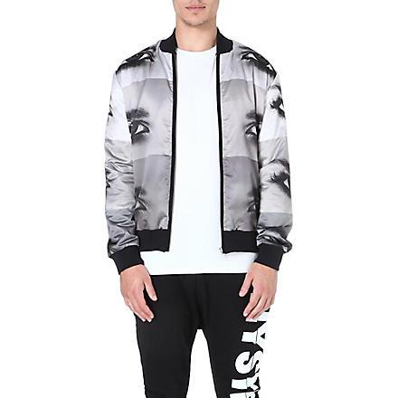 BLOOD BROTHER Reversible eye-print bomber jacket (Black/white/grey