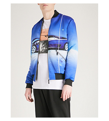 BLOOD BROTHER Car-print satin bomber jacket (All+over+print