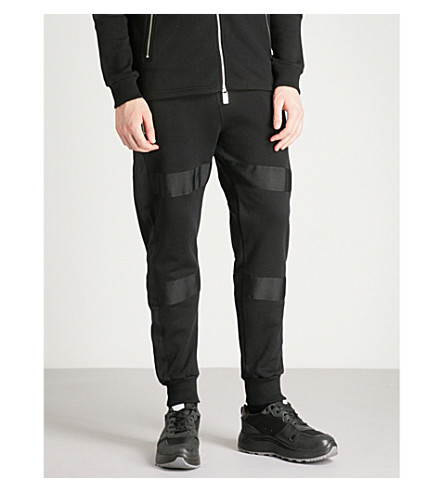 BLOOD BROTHER Bungie panelled cotton-jersey jogging bottoms (Black