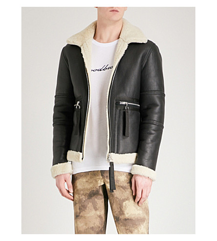BLOOD BROTHER Ferrman leather and shearling jacket (Black