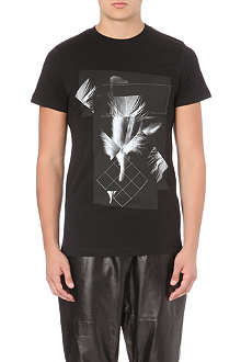 BLOOD BROTHER Pixelated feather-print t-shirt