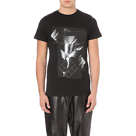 BLOOD BROTHER Pixelated feather-print t-shirt (Black