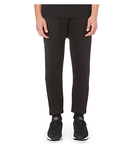 BLOOD BROTHER Quilted dropped-crotch jogging bottoms (Black