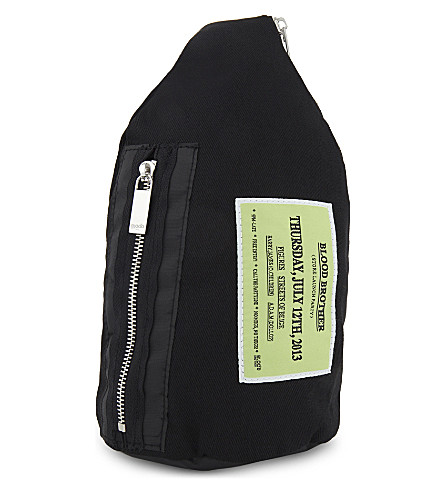 BLOOD BROTHER Launch cotton cross-body bag (Black