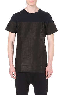 BLOOD BROTHER Tropp leather-panelled t-shirt