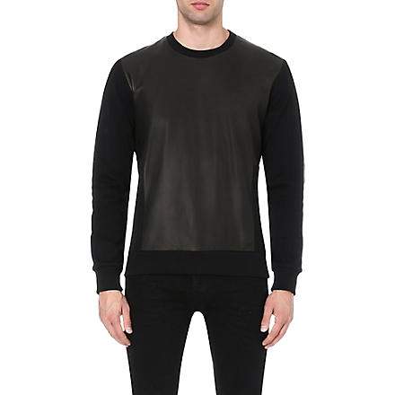 BLOOD BROTHER Leather panel sweatshirt (Black