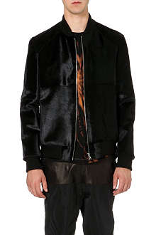 BLOOD BROTHER Leather pony hair varsity jacket