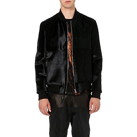 BLOOD BROTHER Leather pony hair varsity jacket (Black
