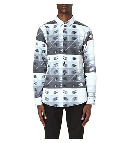 BLOOD BROTHER Eye-print shirt (Black/white/grey