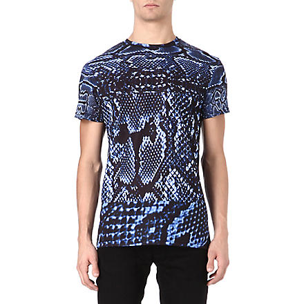 SYSTVM Snake skin cotton t-shirt (Blue