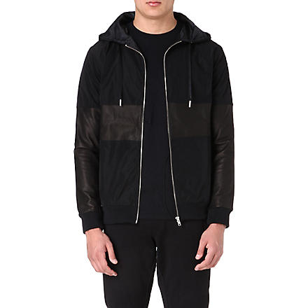 BLOOD BROTHER Leather-detail hooded jacket (Black