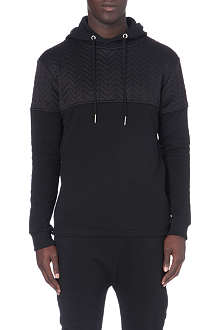 BLOOD BROTHER Blackout quilted-shoulder hoody