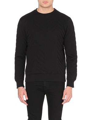 BLOOD BROTHER Quilted crew neck cotton sweatshirt