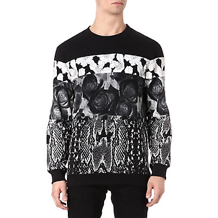 SYSTVM Snake and flower-panel sweatshirt (Grey