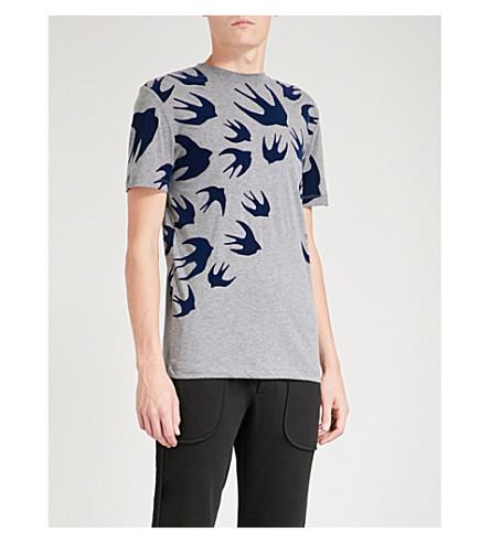 MCQ ALEXANDER MCQUEEN Swallow-print cotton-jersey T-shirt (Stone+melange+ink