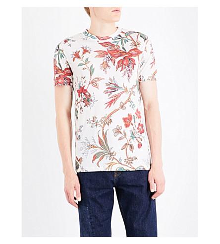 MCQ ALEXANDER MCQUEEN Floral-print cotton-jersey T-shirt (Parchment