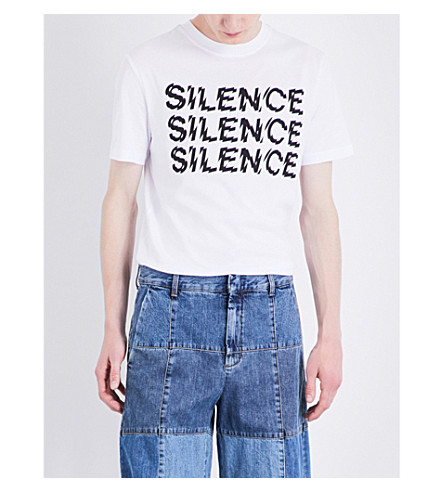 MCQ ALEXANDER MCQUEEN Silence cotton-jersey T-shirt (Optic+white