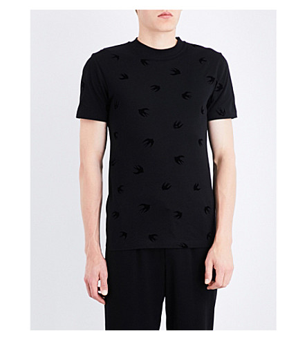 MCQ ALEXANDER MCQUEEN Swallow-flocked cotton-jersey T-shirt (Darkest+black