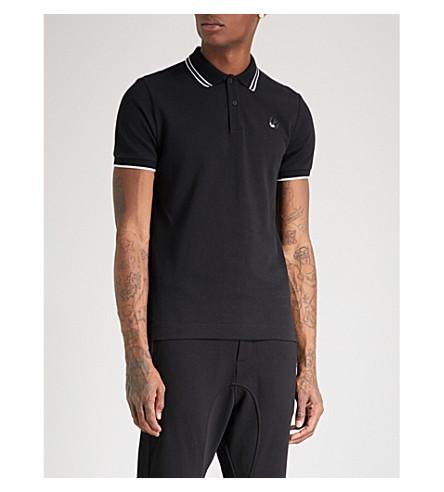 MCQ ALEXANDER MCQUEEN Swallow-logo cotton-piqué polo shirt (Black/black