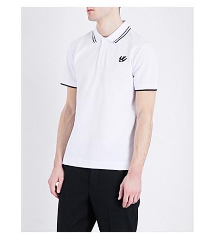 MCQ ALEXANDER MCQUEEN Swallow-logo cotton-piqué polo shirt (Optic+white