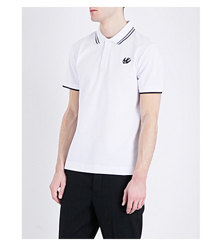MCQ ALEXANDER MCQUEEN燕子-标志棉-何塞普·皮克马球衫 (光学 + 白色