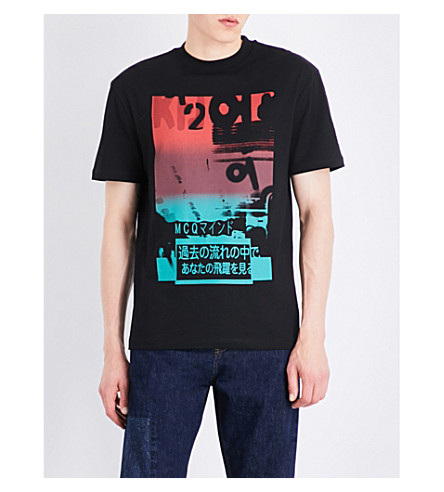 MCQ ALEXANDER MCQUEEN Graphic-print cotton T-shirt (Darkest+black