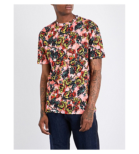 MCQ ALEXANDER MCQUEEN Floral-print cotton-jersey T-shirt (Darkest+black