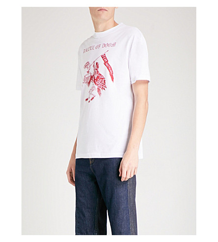 MCQ ALEXANDER MCQUEEN Battle of Doom cotton-jersey T-shirt (Optic+white+red