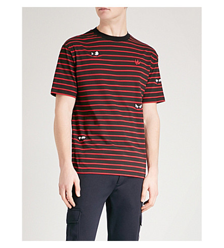 MCQ ALEXANDER MCQUEEN Monster Stripe cotton-jersey T-shirt (Striped+black+red