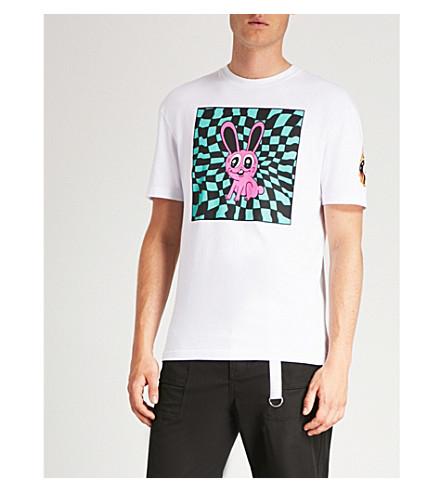MCQ ALEXANDER MCQUEEN 迷幻兔平纹针织棉 T 恤 (光学 + 白色